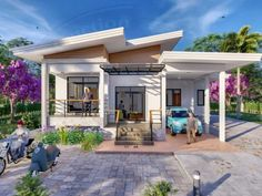 Modern Bungalow House Design With Three Bedrooms - Ulric Home Simple Bungalow House Designs, Cottage Style House Plans, Simple House Design, Three Bedroom House Plan, Bungalow House Plans, Modern House Design, Village House Design, Village Houses, Houses Houses