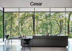 Oak fitted kitchen with island Maxima 2.2 by Cesar Arredamenti