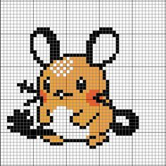 Pokemon Dedenne cross-stitch / pearler bead pattern