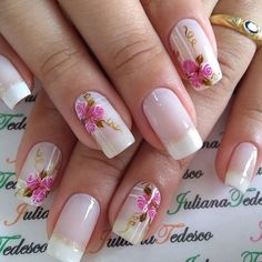 New Nails Art Acrylic Prom 21 Ideas Pink Nail Art, New Nail Art, Flower Nail Art, Pink Nails, Nail Deco, Pretty Nail Art, Super Nails, Stylish Nails, Gorgeous Nails