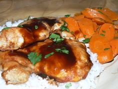 Baked Boneless Skinless Chicken Thighs in Dem Bonz Teriyaki, Fluffy Jasmine Rice, and Gingered Carrots.