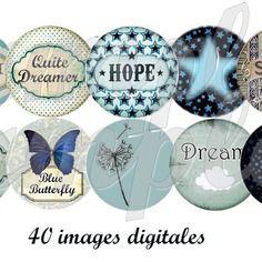 """Images digitales pour bijoux """"bleu"""", rétro, bleu,  papillon, étoiles, noeud, cabochon"""