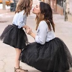 Long-sleeve Shirt and Black Tutu Skirt Set for Mommy and Me