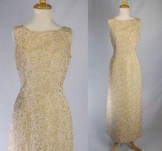 Vintage 60's Gold Brocade Wiggle Dress Bombshell by madvintage