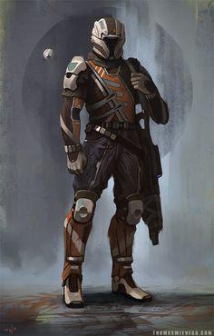 Sci-fi Concept Art - futuristic cyborg soldier in battle armor