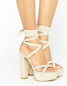 0047bacd516a Shop Truffle Collection Tie Ankle Platform Heeled Sandals at ASOS.