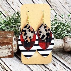 Buffalo Plaid Gold Leopard Leather Earrings, Black and White Striped Earrings, Gold Glitter Cheetah Earrings, Stacked Earrings, Womans Gift by whiteshedcreations on Etsy
