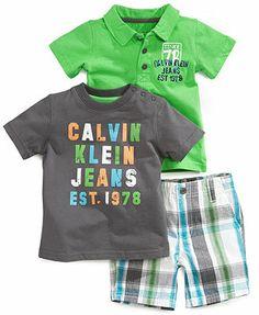 Calvin Klein Baby Boys' 3-Piece Polo, Tee & Shorts Set