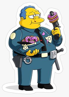 Cartoon Stickers, Tumblr Stickers, Cute Stickers, Simpsons Drawings, Simpsons Art, Police Stickers, Laptop Stickers, Simpson Tumblr, Rick And Morty Stickers