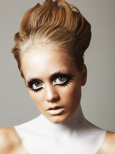 Look at the use of white eye liner. I've always loved that look!  Photographer Daniel Roché takes inspiration from The Sixties with his latest Institute beauty story. Sixties nostalgia is making itself felt this season, inspiring Make-up artist Einat Dan delivers luscious full lashes, bright colors and the signature sweeping liner. Einat Dan is using Armani, M.A.C Cosmetis and Illamasqua London.