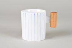Blue & White Wooden Handled Mug_Wide Stripes