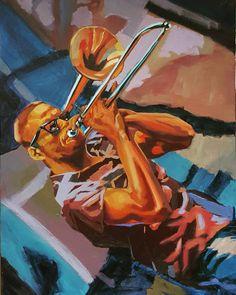 New #Tromboneshorty #acrylic #painting #figurative #fineart #art #frenchquarter #neworleans #trombone #jazz by anthonybordelon