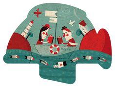Abanico ilustrado por Valoma Valdivia. Campaña de fomento a la lectura organizada por Tretzevents para la Xarxa de Biblioteques de Catalunya