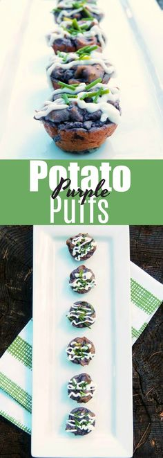 Purple Potato Puffs - Move over tater tots, these tasty potato puffs are the new kid in town! A delicious little potato bite with Parmesan cheese, Greek yogurt, and chives, all wrapped up in a cute little purple package. Perfect for your next party or get together! From www.bobbiskozykitchen