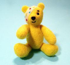 Our needle felted Pudsey Bear Teddy Bears, Needle Felting, Dinosaur Stuffed Animal, Toys, Animals, Activity Toys, Animales, Animaux, Clearance Toys