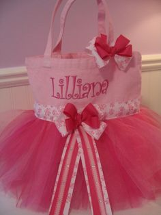 Embroidered Dance Bag Tutu Tote Bag  Pink Ballet by gkatdesigns, $32.00