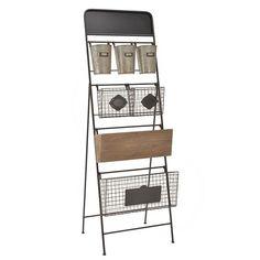 WOODEN/METAL WALL SHELF WITH BASKETS 51X18X160 - Shelves - Bookshelves - FURNITURE