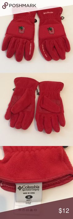 [Columbia] Men's M OSU Ohio State Gloves Winter -Size medium -Red OSU gloves -Women could wear as well! -Warm and not overly thick  -Go Buckeyes! Columbia Accessories Gloves