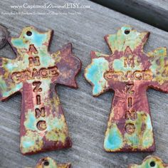 Pottery Cross PENDANT Bead in a worldly mix of blues, greens and browns by CapturedMoments on Etsy