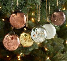 Natural Tone Mercury Glass Ball Ornaments - Set of 6