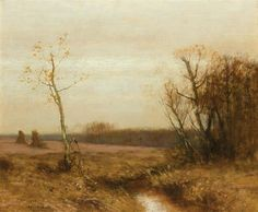 """Autumn Landscape,"" Bruce Crane, oil on canvas, 20 x 24"", private collection."