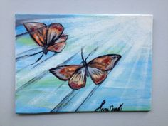 Acrylic Butterfly Painting on a Canvas Tile by Sara Noad on Etsy, $19.97