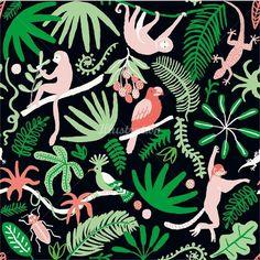 Annie Davidson Illustrator - Naïve & Quirky Hand Drawings, Old botanical Sketches Monkey Illustration, Cactus Illustration, Pattern Illustration, Surface Pattern Design, Pattern Art, Conversational Prints, Kids Graphics, View Wallpaper, Ink Illustrations