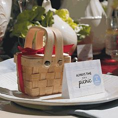 Miniature Woven Picnic Basket Favors for BBQ parties, showers or weddings