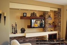 Stylish built in shelves and TV shelves of plasterboard for modern living room