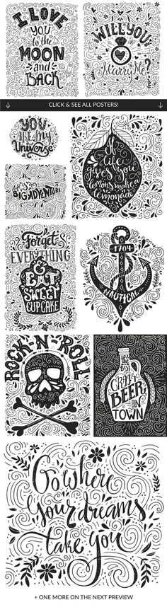 11 Hand Lettering Quotes  by FaveteArt - great for posters! $19 on Creative Market