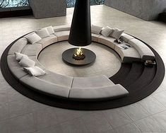 Outdoor / Gardening:Create Outdoor Lounge With Sunken Seating Area Build Conversation Pits Sunken Sitting Areas In Pool Garden Outside Circular Conversation Pit Central Fireplace Elevate The Style Quotient Of Your Outdoor Lounge With Sunken Seating Area Circular Couch, Round Couch, Front Room Design, Design Room, Conversation Pit, Cover Design, Sunken Living Room, Fire Pit Furniture, Freestanding Fireplace