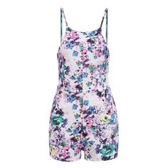 Spaghetti Strap Flower Print Purple Romper (46 RON) ❤ liked on Polyvore featuring jumpsuits, rompers, floral romper, spaghetti strap romper, flower print romper, purple romper and purple rompers