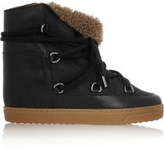Isabel Marant Nowles shearling-lined leather concealed wedge boots on shopstyle.com