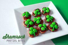 Hershey Kiss Pretzel Bites #shamrock #stpatricksday #dessert #treat