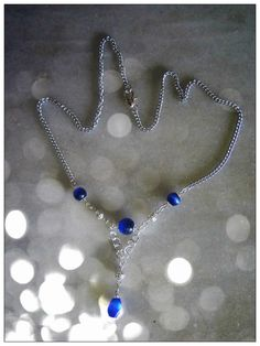 Beautiful Silver Necklace with Blue Sapphire by IreneDesign2011