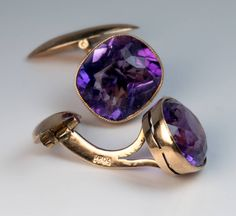 Antique Russian Amethyst Cufflinks | From a unique collection of vintage cufflinks at https://www.1stdibs.com/jewelry/cufflinks/cufflinks/