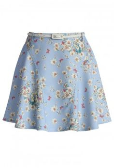 Whimsical Flowers A-line Paneled Skirt in Sky Blue - Retro, Indie and Unique Fashion