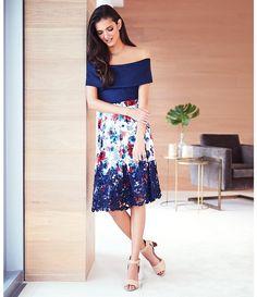 Antonio Melani Sabina Printed Mesh/Chemical Lace Skirt