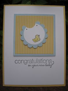 baby bib card.  Looks easy and really cute, except it needs a couple of scraps of ribbon tied and attached to it like it was a real bib.