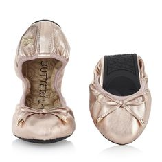 Butterfly Twists Sienna Rose Gold Ballet Pumps