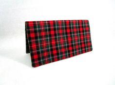 Plaid Handmade Fabric Checkbook Cover / Washable