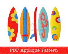 Surfboards Applique Template PDF Patterns Includes 5 Surfboard Designs | AngelLeaDesigns - Craft Supplies on ArtFire