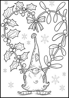 Tomte Coloring Pages Christmas Gnome, Christmas Colors, Christmas Art, Christmas Coloring Pages, Coloring Book Pages, Illustration Noel, Christmas Drawing, Theme Noel, Digi Stamps