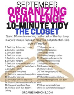 Organizing Tasks for the Ten Minute Tidy Challenge. This month's tasks focus on…