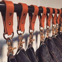 Leather (Notice the detail of the shape of the edge and how it falls) Water Garden Mosquitoes Proble Clothing Store Displays, Clothing Store Design, Okayama, Denim Display, Graphisches Design, Leather Workshop, Leather Projects, Wood Projects, Leather Keychain