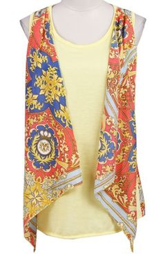 #SheInside Yellow Sleeveless Floral Chiffon Vest