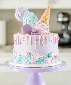 Candy Birthday Cakes, Ice Cream Birthday Cake, Birthday Cakes For Teens, Beautiful Birthday Cakes, Ice Cream Party, My Birthday Cake, Pretty Cakes, Cute Cakes, Yummy Cakes
