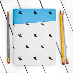Image of Flying Birds Blue Notebook - Large Graphic Prints, Graphic Design, Cool Calendars, Robin, Beautiful Notebooks, Blue Jay, Flying Birds, Etsy, Vintage