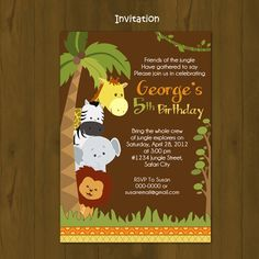 Safari Zoo Jungle Wild Animals Printable Birthday Package - Safari Birthday Party DIY Set - invitation, cupcake toppers, placemat. $27.00, via Etsy.
