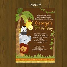 Safari Birthday invitation - Jungle Birthday Printable Invitation - Wild Birthday invitation - Zoo animals Birthday